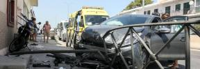 Aparatoso accidente en cadena en Can Negre