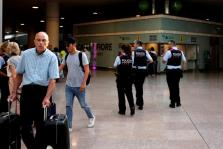 Spanish police patrol Barcelona El Prat airport the morning after Islamic State claimed responsibility for a vehicle attack on t